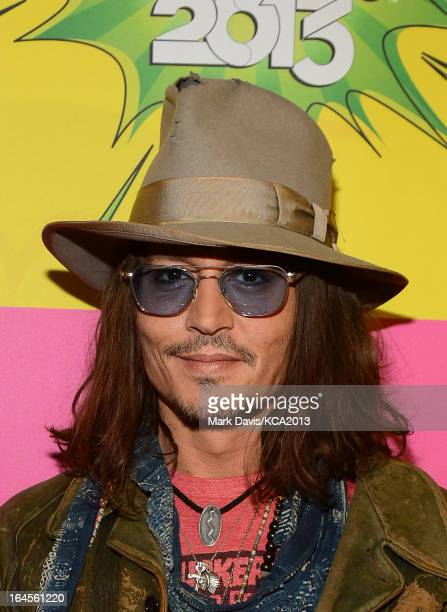 Actor Johnny Depp seen backstage at Nickelodeon's 26th Annual Kids' Choice Awards at USC Galen Center on March 23 2013 in Los Angeles California