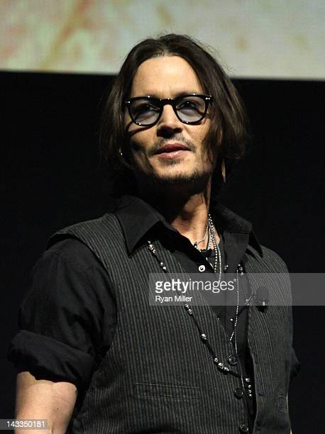 Actor Johnny Depp speaks onstage at Caesars Palace during CinemaCon the official convention of the National Association of Theatre Owners April 24...