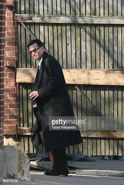 Actor Johnny Depp walks on Location filming 'Public Enemies' March 25 2008 in Crown Point Indiana The movie is based on the 1930's famous bank robber...