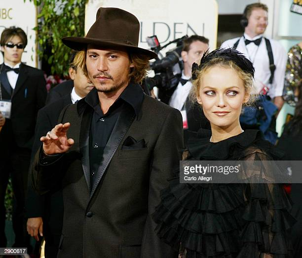 Actor Johnny Depp with Vanessa Paradis attend the 61st Annual Golden Globe Awards at the Beverly Hilton Hotel on January 25 2004 in Beverly Hills...