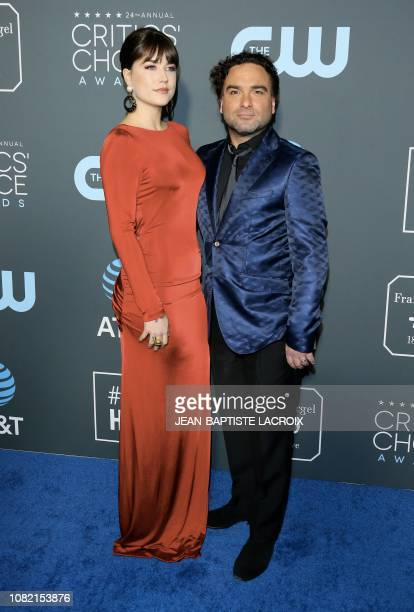 Actor Johnny Galecki and Alaina Meyer arrive for the 24th Critics' Choice Awards at Barker Hangar Santa Monica airport on January 13 2019 in Santa...