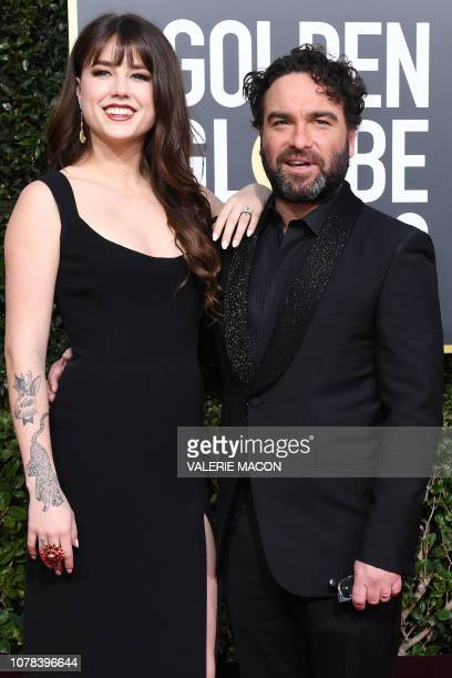 US actor Johnny Galecki arrives with girlfriend Alaina Meyer for the 76th annual Golden Globe Awards on January 6 at the Beverly Hilton hotel in...