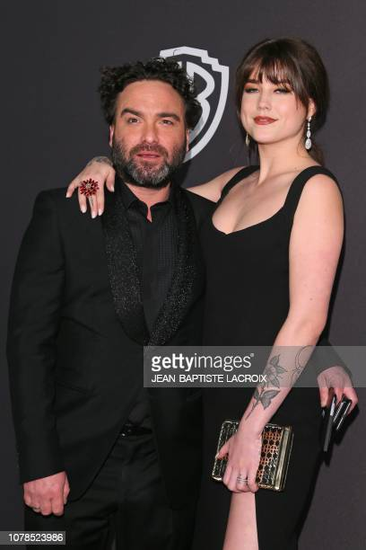 US actor Johnny Galecki arrives with girlfriend Alaina Meyer for the Warner Bros and In Style 20th annual post Golden Globes party at the Oasis...