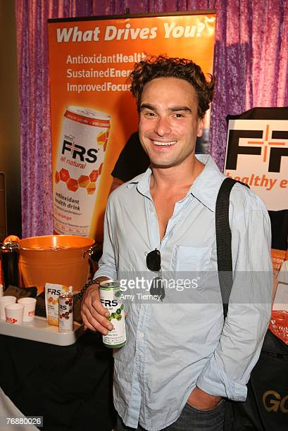 Actor Johnny Galecki stops at FRS energy drink at the pre-Emmy HBO luxury lounge held at the Four Seasons Hotel o in Los Angeles, California.
