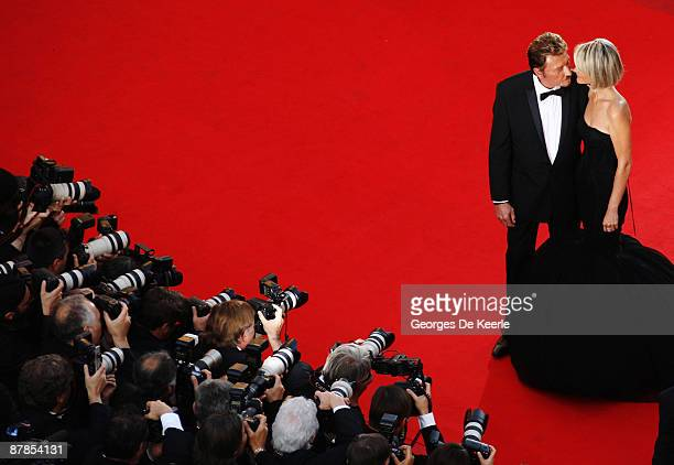 Actor Johnny Hallyday and his wife Laetitia Hallyday attend the Vengeance Premiere at the Palais Des Festivals during the 62nd International Cannes...