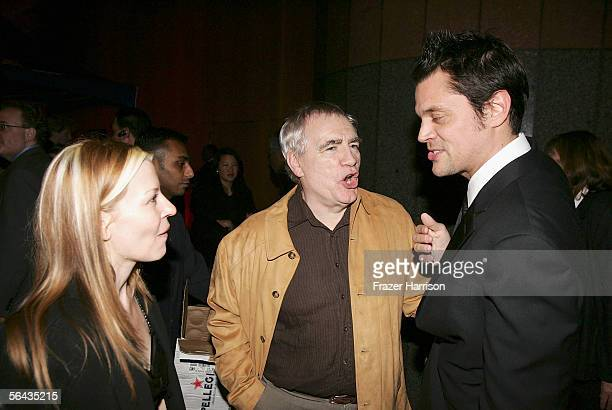Actor Johnny Knoxville and wife Melanie Clapp speak with Actor Brian Cox at the Hollywood premiere of Fox Searchlight Pictures' The Ringer after...