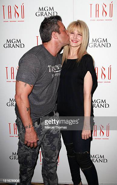 Actor Johnny Messner and actress Kathryn Morris celebrates the DVD release of the movie She Wants Me at Tabu Ultra Lounge at MGM Grand on September 8...