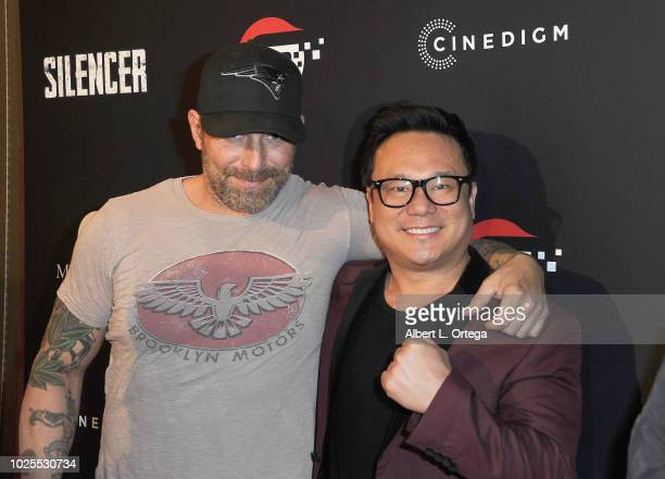 Actor Johnny Messner and Jimmy Shin arrive for the Premiere Of Cinedigm's Silencer held at Laemmle's Ahrya Fine Arts Theatre on August 30 2018 in...
