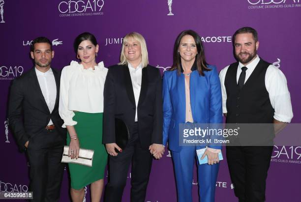 Actor Johnny Sibilly actor Trace Lysette costume designer Marie Schley actor Amy Landecker and actor Ian Harvie attend The 19th CDGA with Presenting...
