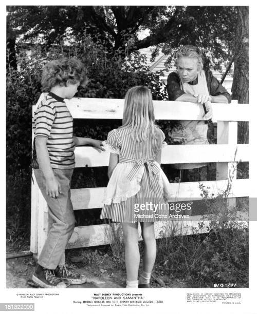Actor Johnny Whitaker actress Jodie Foster and Ellen Corby on set of the Walt Disney movie Napoleon and Samantha in 1972
