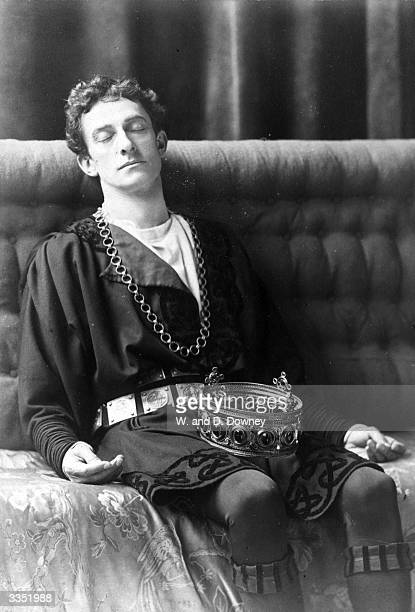 Actor Johnston Forbes Robertson resting in the role of Hamlet during a stage production of the play