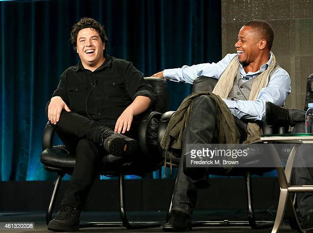 Actor Jon Bass and actor Cuba Gooding Jr. Speak onstage during the 'Big Time in Hollywood, FL' panel at the Comedy Central portion of the 2015 Winter...