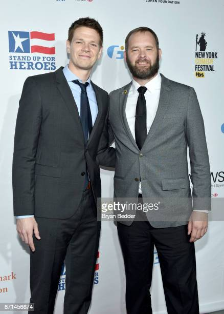 Actor Jon Beavers and army veteran Eric Bourquin attend the 11th Annual Stand Up for Heroes Event presented by The New York Comedy Festival and The...