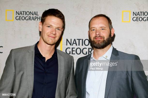 Actor Jon Beavers and US Army veteran Eric Bourquin attend 'The Long Road Home' Washington DC Premiere on October 25 2017 at National Geographic in...