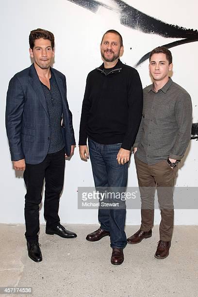 Actor Jon Bernthal, director David Ayer and actor Logan Lerman attend AOL's BUILD Series Presents: Logan Lerman and Jon Bernthal with director David...