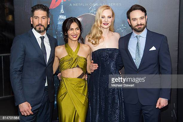 Actor Jon Bernthal Elodie Yung Deborah Ann Woll and Charlie Cox attend the 'Daredevil' Season 2 premiere at AMC Loews Lincoln Square 13 theater on...