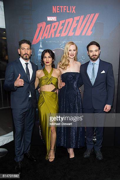 Actor Jon Bernthal Elodie Yung Deborah Ann Woll and Charlie Cox attend the Daredevil Season 2 premiere at AMC Loews Lincoln Square 13 theater on...
