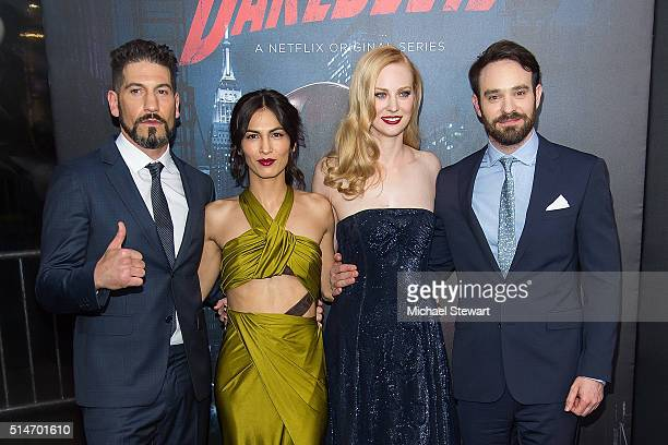 """Actor Jon Bernthal, Elodie Yung, Deborah Ann Woll and Charlie Cox attend the """"Daredevil"""" Season 2 premiere at AMC Loews Lincoln Square 13 theater on..."""