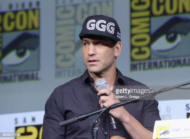 Actor Jon Bernthal speaks onstage at Netflix's 'The Defenders' panel during ComicCon International 2017 at San Diego Convention Center on July 21...