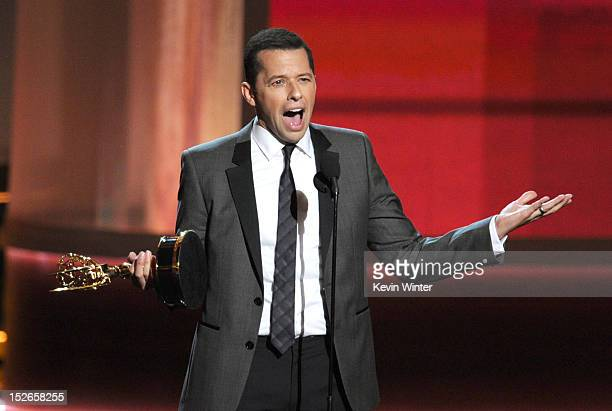 Actor Jon Cryer accepts Outstanding Lead Actor in a Comedy Series award for Two and a Half Men onstage during the 64th Annual Primetime Emmy Awards...