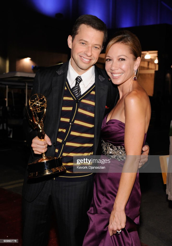 Actor Jon Cryer (L) and wife Lisa Joyner backstage at the 61st Primetime Emmy Awards held at the Nokia Theatre on September 20, 2009 in Los Angeles, California.