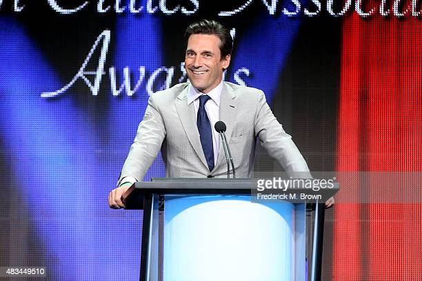 Actor Jon Hamm accepts the TCA Award for Individual Achievement in Drama onstage for 'Mad Men' during the 31st annual Television Critics Association...
