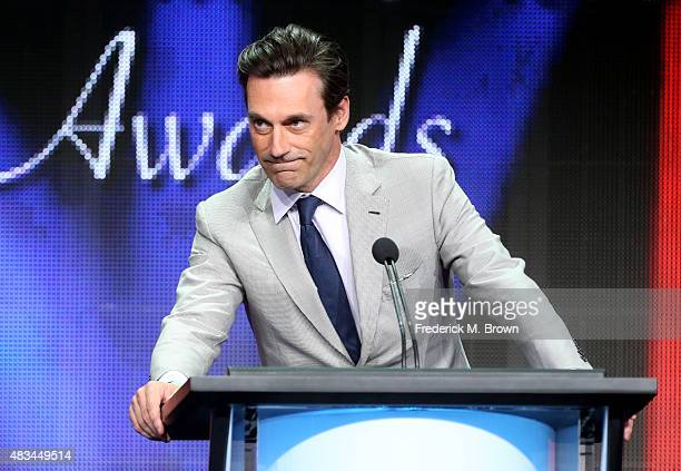 Actor Jon Hamm accepts the TCA Award for Individual Achievement in Drama for 'Mad Men' onstage during the 31st annual Television Critics Association...
