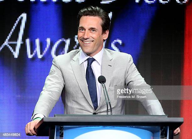 Actor Jon Hamm accepts the TCA Award for Individual Achievement in Drama onstage during the 31st annual Television Critics Association Awards at The...