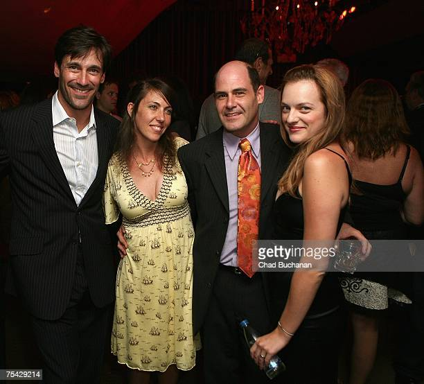 Actor Jon Hamm actress Bridget Bedard series creator Matthew Weiner and actor Elisabeth Moss attend AMC's premiere party for 'Mad Men' at The Friars...