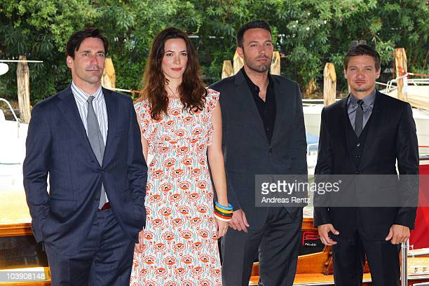 Actor Jon Hamm actress Rebecca Hall director Ben Affleck and actor Jeremy Renner attend the 67th Venice Film Festival on September 8 2010 in Venice...