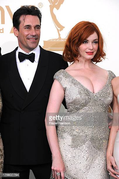 Actor Jon Hamm and actress Christina Hendrick of 'Mad Men' pose in the press room after winning Outstanding Drama Series during the 63rd Annual...