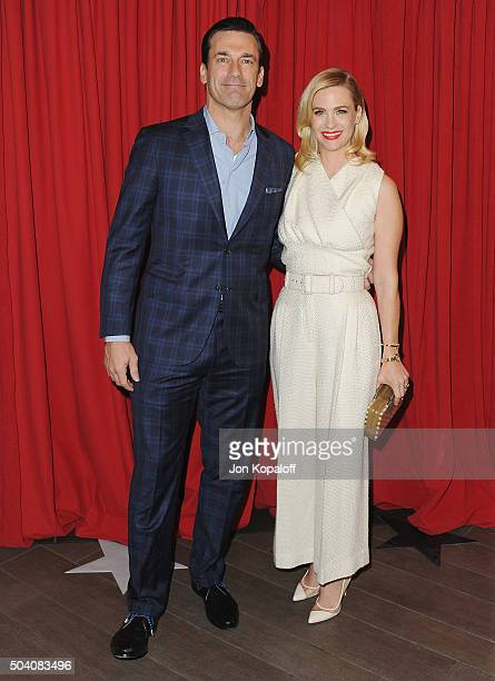 Actor Jon Hamm and actress January Jones arrive at the 16th Annual AFI Awards on January 8, 2016 in Los Angeles, California.