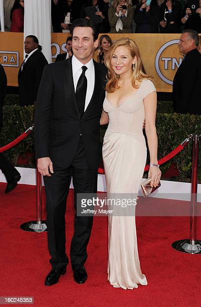 Actor Jon Hamm and actress Jennifer Westfeldt arrive at the 19th Annual Screen Actors Guild Awards at The Shrine Auditorium on January 27 2013 in Los...