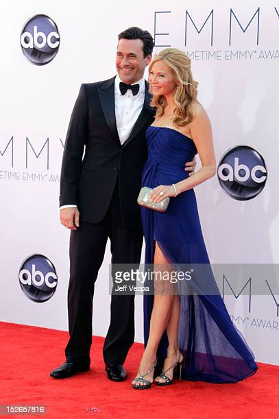 Actor Jon Hamm and actress Jennifer Westfeldt arrive at the 64th Primetime Emmy Awards at Nokia Theatre L.A. Live on September 23, 2012 in Los...