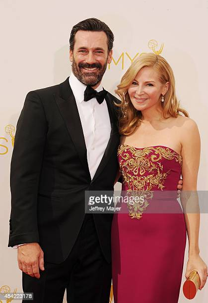Actor Jon Hamm and actress Jennifer Westfeldt arrive at the 66th Annual Primetime Emmy Awards at Nokia Theatre LA Live on August 25 2014 in Los...
