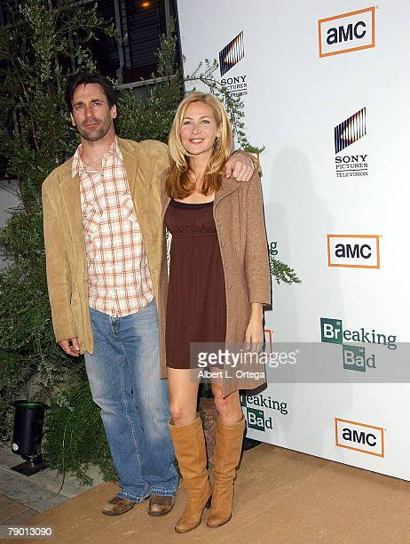 Actor Jon Hamm and actress Jennifer Westfeldt arrive at the Premiere Screening of AMC's new Sony Pictures' Television drama Breaking Bad held on...