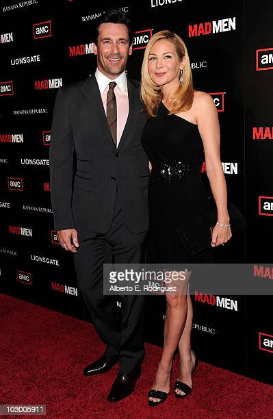 Actor Jon Hamm and actress Jennifer Westfeldt arrive to the season 4 premiere of AMC's Mad Men on July 20 2010 in Hollywood California