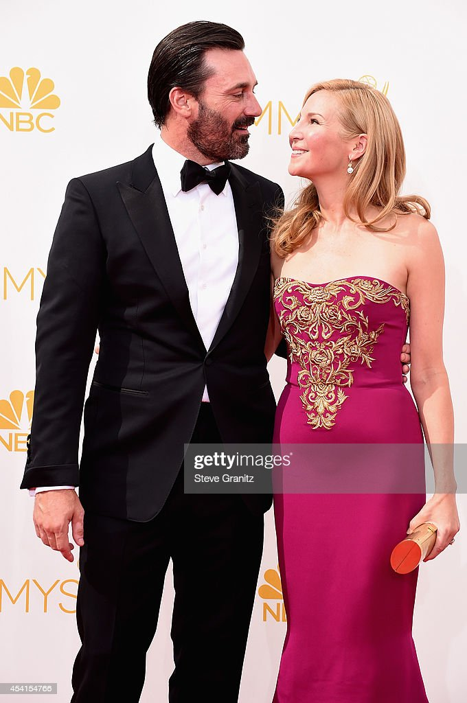Actor Jon Hamm (L) and actress Jennifer Westfeldt attend the 66th Annual Primetime Emmy Awards held at Nokia Theatre L.A. Live on August 25, 2014 in Los Angeles, California.
