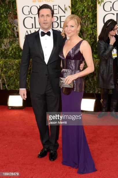 Actor Jon Hamm and actressfilmmaker Jennifer Westfeldt arrive at the 70th Annual Golden Globe Awards held at The Beverly Hilton Hotel on January 13...