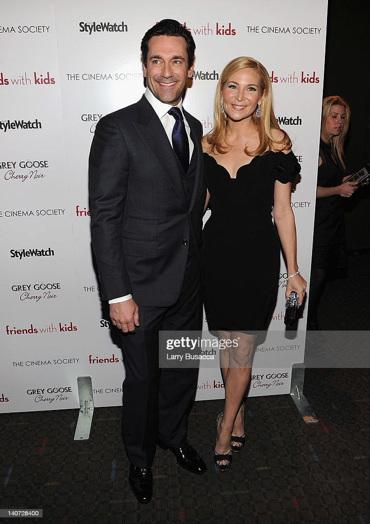 Actor Jon Hamm and director Jennifer Westfeldt attend the Cinema Society & People StyleWatch with Grey Goose screening of 'Friends With Kids' at the SVA Theater on March 5, 2012 in New York City.