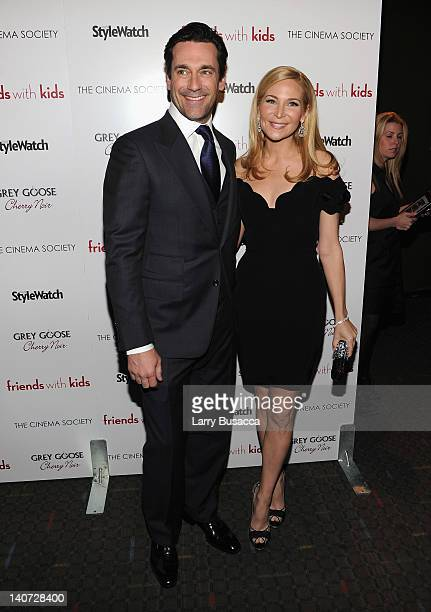 Actor Jon Hamm and director Jennifer Westfeldt attend the Cinema Society People StyleWatch with Grey Goose screening of Friends With Kids at the SVA...