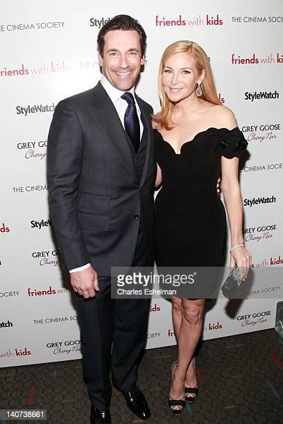 """Actor Jon Hamm and director Jennifer Westfeldt attend the Cinema Society & People StyleWatch with Grey Goose screening of """"Friends With Kids"""" at the..."""