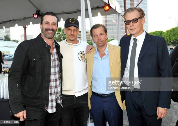 Actor Jon Hamm and Director of MOCA Philippe Vergne and guests attend MOCA's Leadership Circle and Members' Opening of 'Carl Andre Sculpture as Place...
