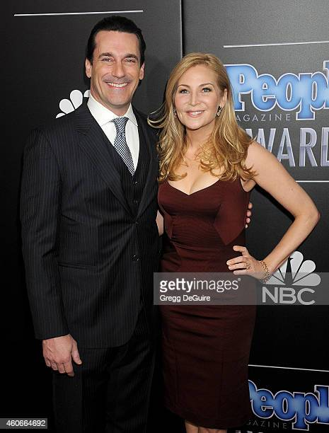 Actor Jon Hamm and Jennifer Westfeldt arrive at The PEOPLE Magazine Awards at The Beverly Hilton Hotel on December 18 2014 in Beverly Hills California