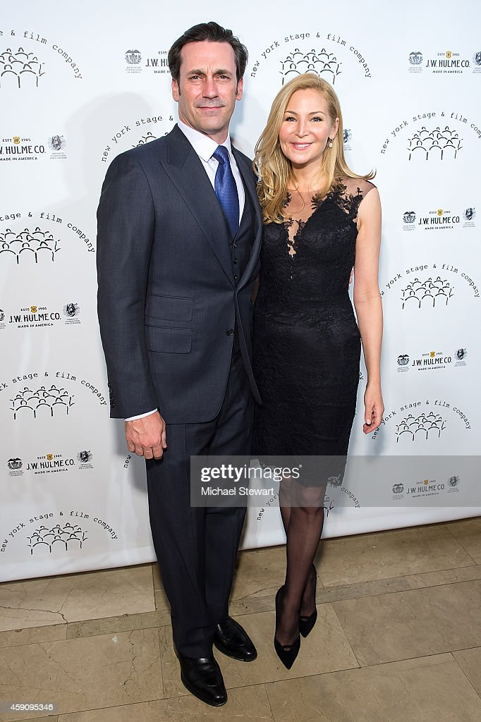 Actor Jon Hamm (L) and Jennifer Westfeldt attend the 2014 New York Stage And Film Winter Gala at The Plaza Hotel on November 16, 2014 in New York City.
