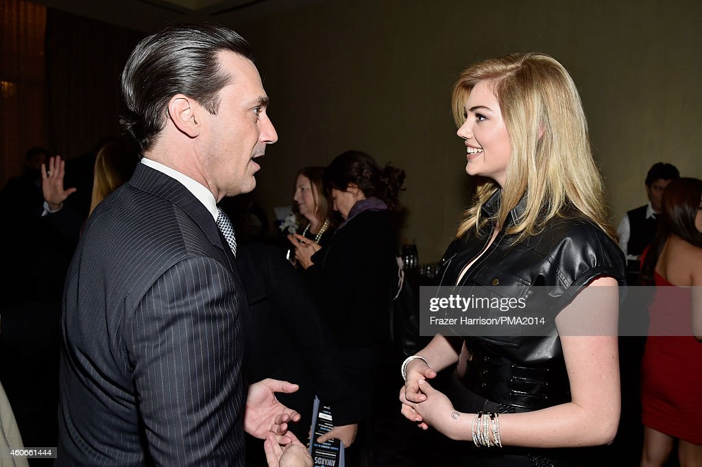 Actor Jon Hamm (L) and model Kate Upton attend the PEOPLE Magazine Awards at The Beverly Hilton Hotel on December 18, 2014 in Beverly Hills, California.