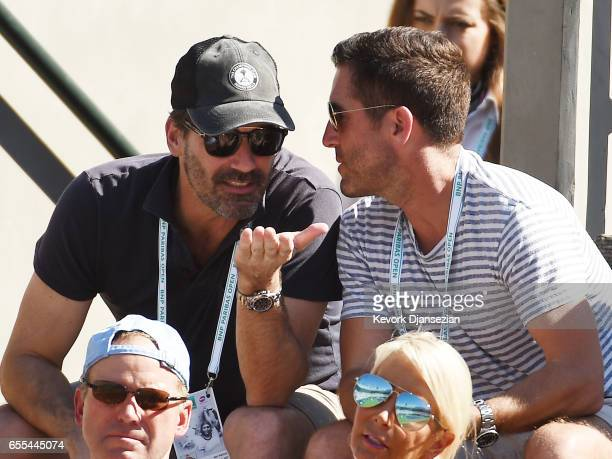 Actor Jon Hamm and Ryan Macaulay owner/founder of Epic Sports attend the BNP Paribas Open men's fins between Roger Federer of Switzerland and...