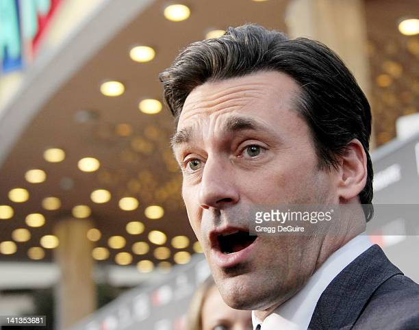 Actor Jon Hamm arrives at AMC's 'Mad Men' Season 5 Premiere at ArcLight Cinemas Cinerama Dome on March 14 2012 in Hollywood California