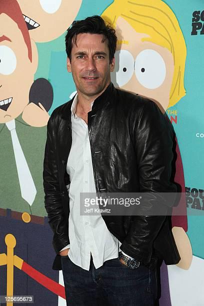 "Actor Jon Hamm arrives at ""South Park"" 15th Anniversary Celebration at The Barker Hanger on September 20, 2011 in Santa Monica, California."