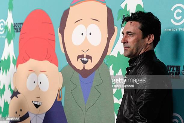 Actor Jon Hamm arrives at 'South Park's' 15th Anniversary Party at The Barker Hanger on September 20 2011 in Santa Monica California